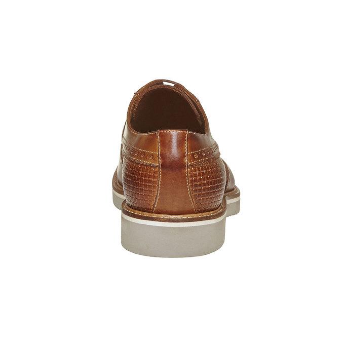 Chaussure lacée en cuir décoration Brogue bata-the-shoemaker, Brun, 824-3302 - 17