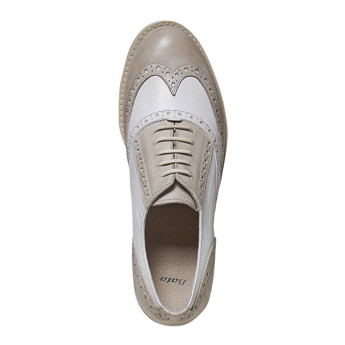 Chaussure lacée en cuir décoration Brogue bata, Gris, 524-2129 - 19