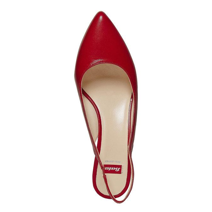 Escarpin pointu en cuir rouge bata, Rouge, 724-5677 - 19
