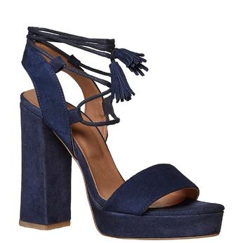 Sandale à pampilles en cuir bata, Violet, 763-9581 - 13