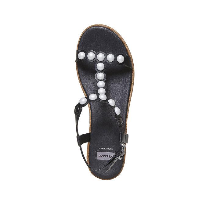 Sandale à plateforme rayée bata, Noir, 661-6237 - 19