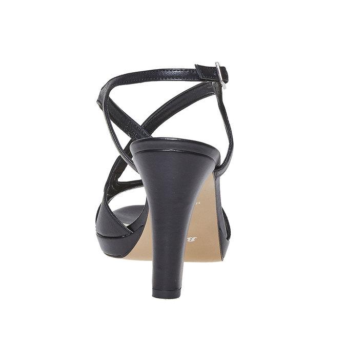 Sandale en cuir femme bata, Noir, 764-6587 - 17