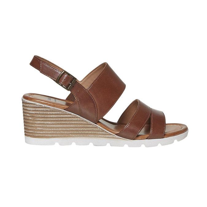 Sandale en cuir à plateforme bata, Brun, 764-3585 - 15
