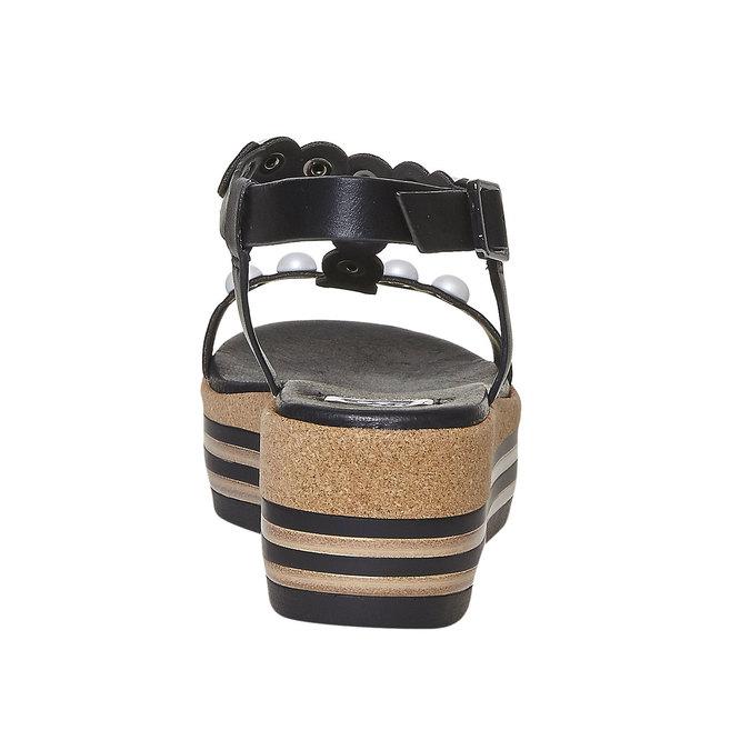 Sandale à plateforme rayée bata, Noir, 661-6237 - 17