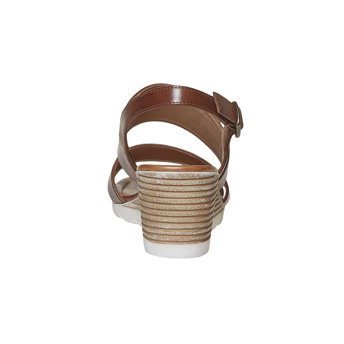 Sandale en cuir à plateforme bata, Brun, 764-3585 - 17