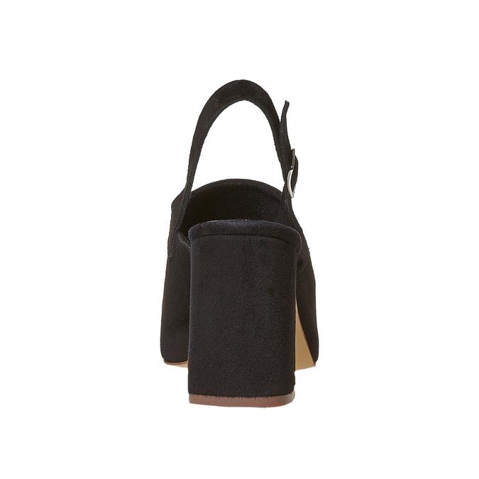 Sandale en cuir à talon stable bata, Noir, 763-6577 - 17
