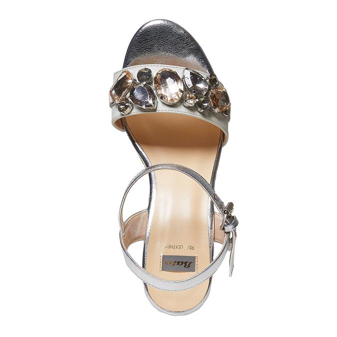 Sandale argentée à plateforme effet naturel bata, Blanc, 761-1575 - 19