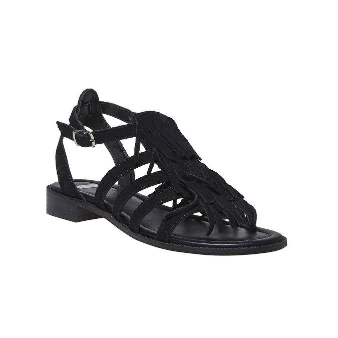 Sandale en cuir à franges pour femme bata, Noir, 563-6442 - 13