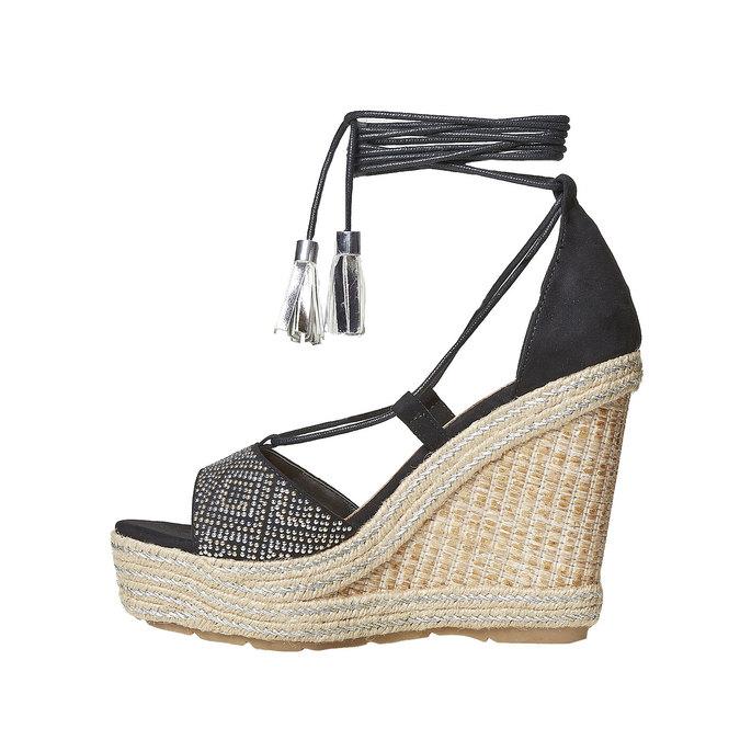 Sandale femme à plateforme effet naturel bata, Noir, 769-6573 - 26
