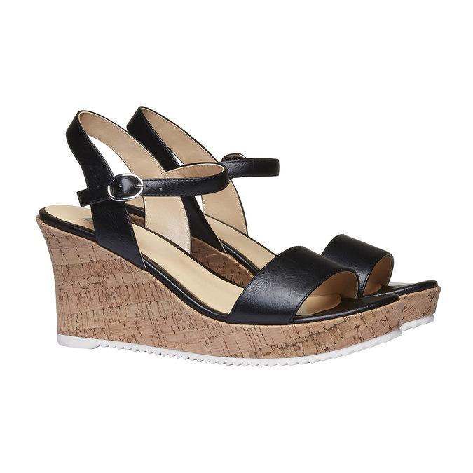 Sandale à plateforme pour femme bata, Noir, 761-6523 - 26