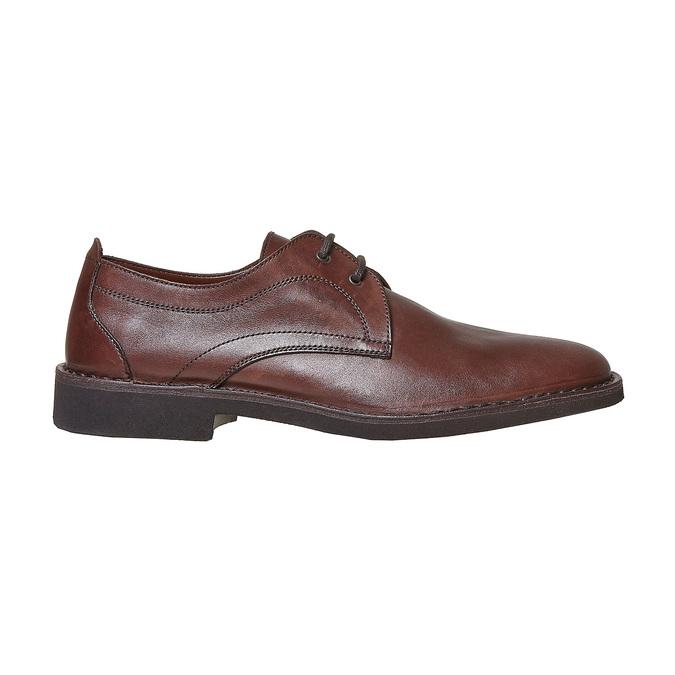 Chaussure lacée surpiquée en cuir marron bata, Brun, 854-4111 - 15