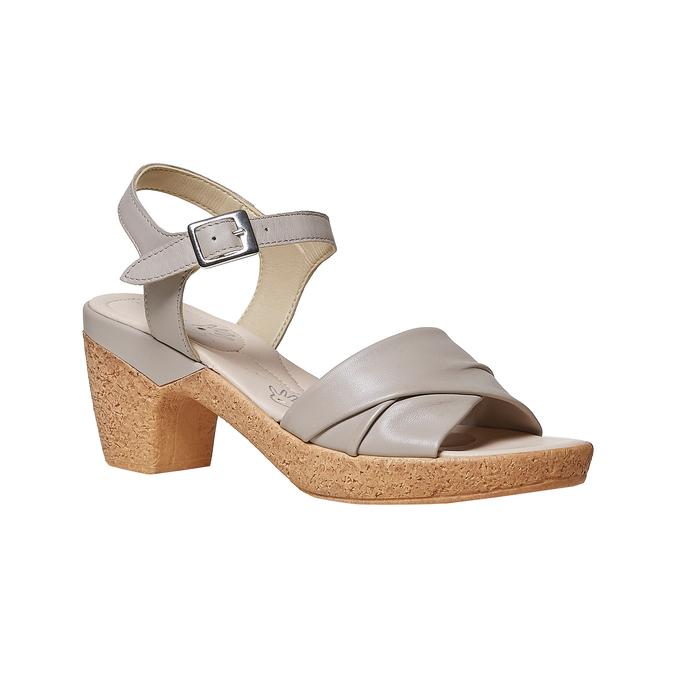 Sandale femme à talon effet naturel bata-touch-me, Gris, 664-2231 - 13