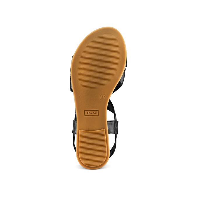 Sandale en cuir à arrière élastique bata, Noir, 564-6443 - 19