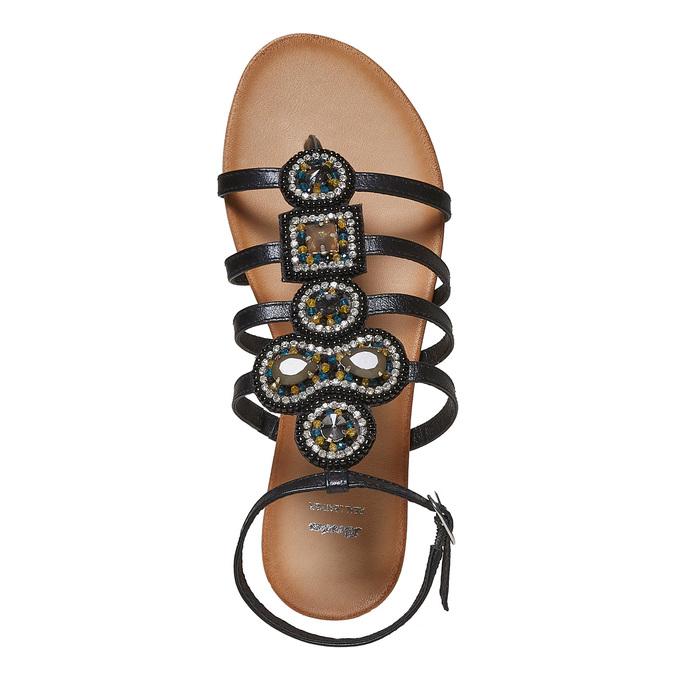 Sandale en cuir noir avec petites pierres bata, Noir, 564-6461 - 19