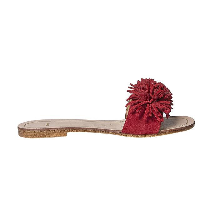 Mule à franges en cuir rouge bata, Rouge, 573-5354 - 15