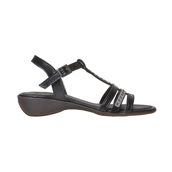 Sandale en cuir femme avec petites pierres sundrops, Noir, 564-6402 - 15