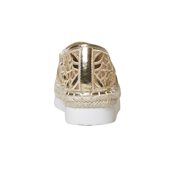 Slip-on dorée femme avec perforation bata, Jaune, 569-8504 - 17
