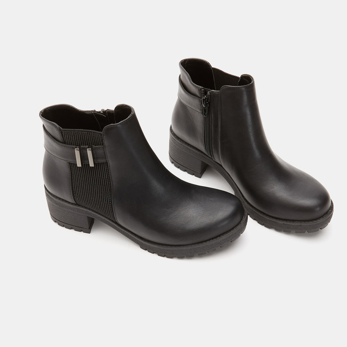 Bottines à talon massif bata, Noir, 691-6150 - 15