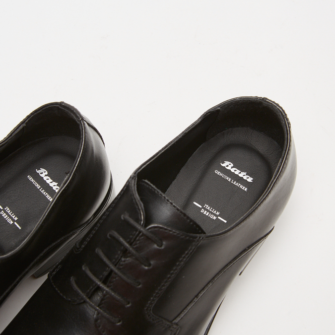 Chaussure lacée Derby en cuir bata, Noir, 824-6874 - 15