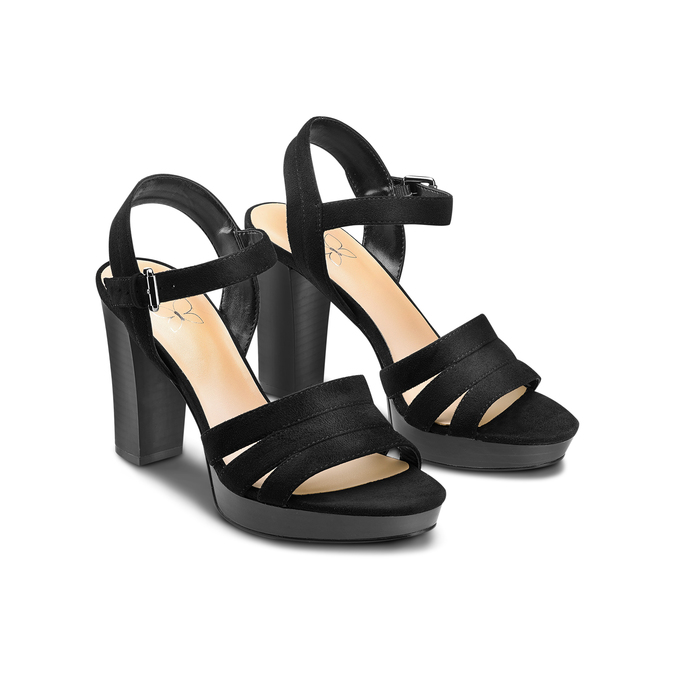 Sandale femme à talon stable insolia, Noir, 769-6700 - 16