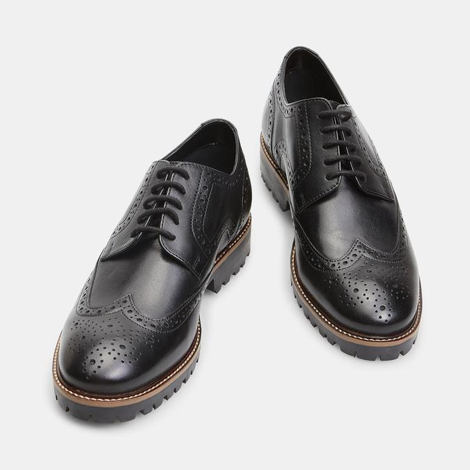 chaussures basses en cuir à surpiqûre brogue bata, Noir, 824-6133 - 17