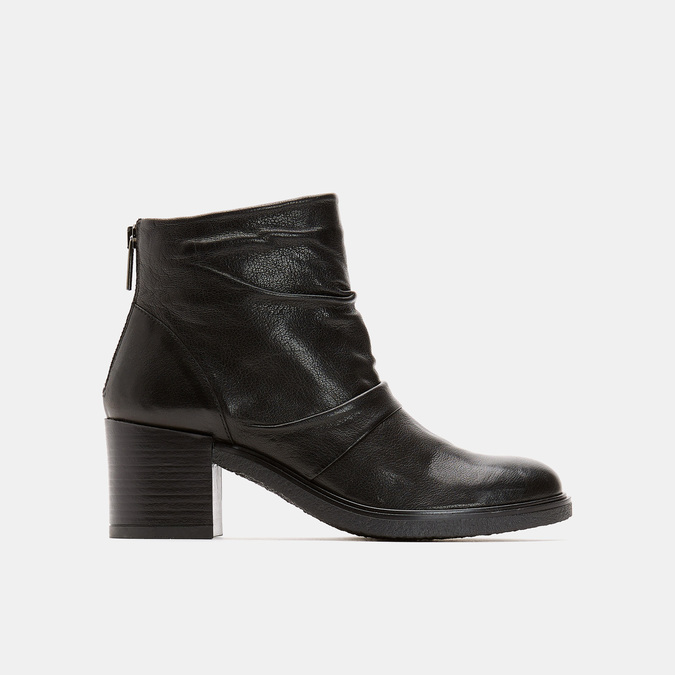 Bottines en cuir de type tronchetto sur talon large bata, Noir, 794-6753 - 13