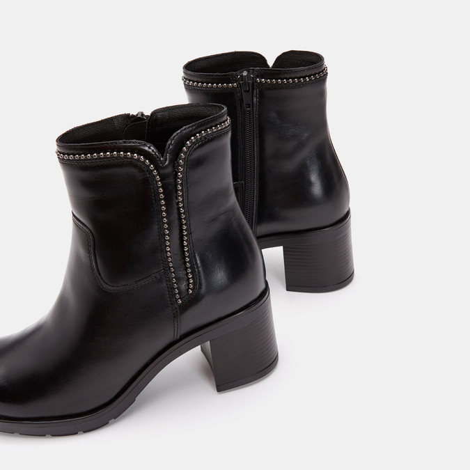 Bottines en cuir de type tronchetto sur talon large bata, Noir, 794-6751 - 15
