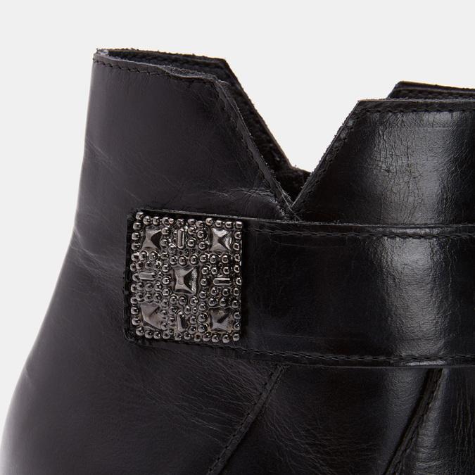 Bottines en cuir de type tronchetto sur talon large bata, Noir, 794-6731 - 26
