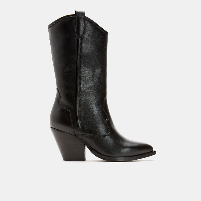 Bottes de style Texas en cuir véritable bata, Noir, 794-6585 - 13