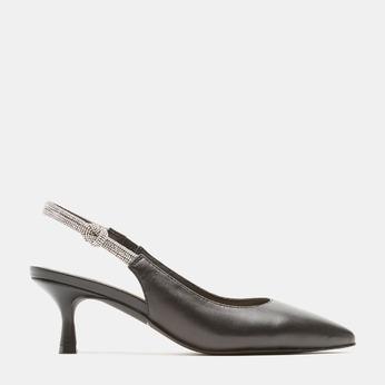 Sandales à bout pointu et talon ouvert bata, Noir, 624-6243 - 13