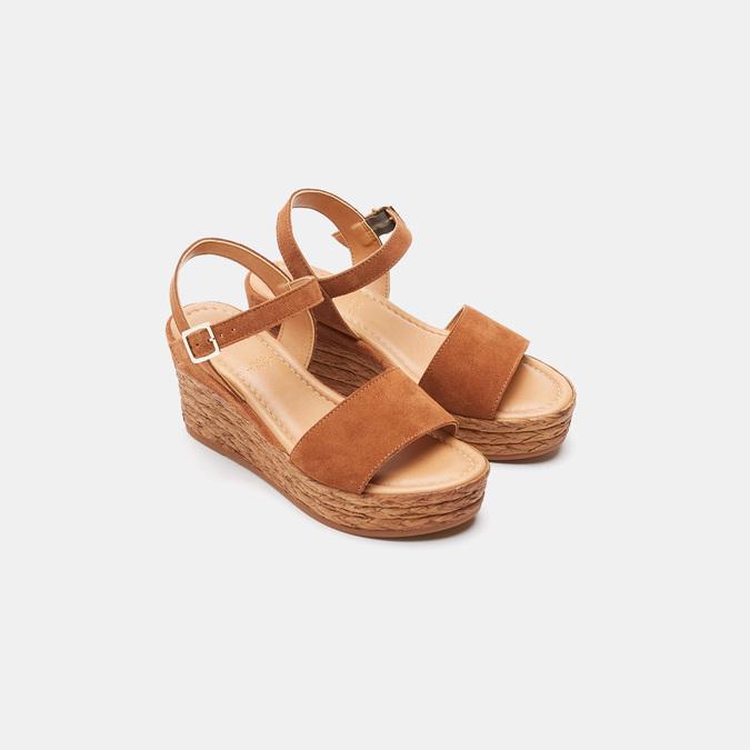 Sandales compensées bata, Brun, 763-4938 - 19
