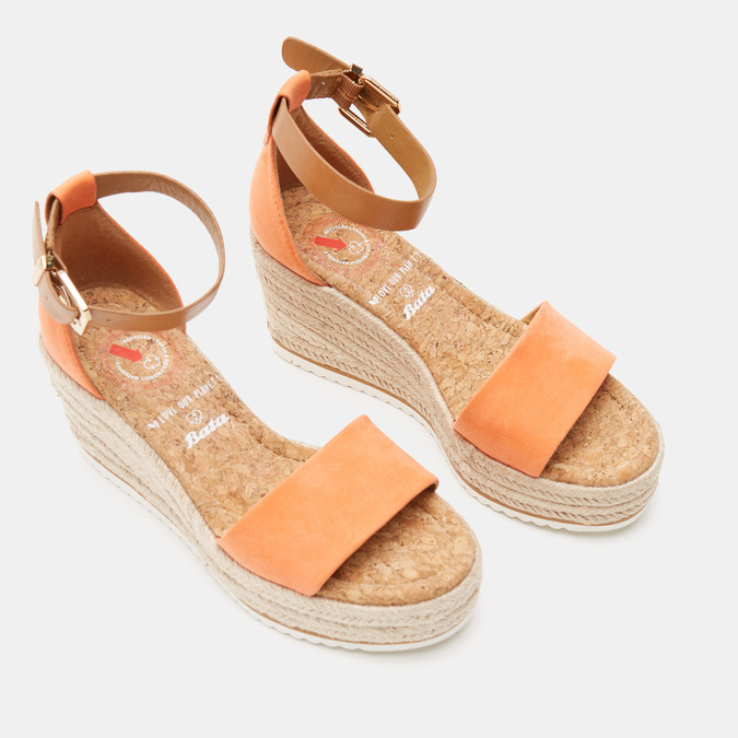 Sandales compensées bata, d'Orange, 769-5983 - 26