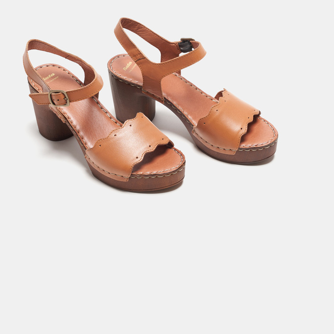 Sandales à talon bata, Brun, 764-4977 - 26