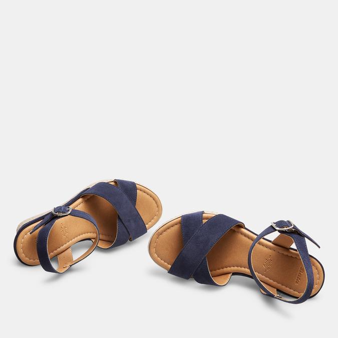 Sandales compensées bata, Bleu, 763-9963 - 17