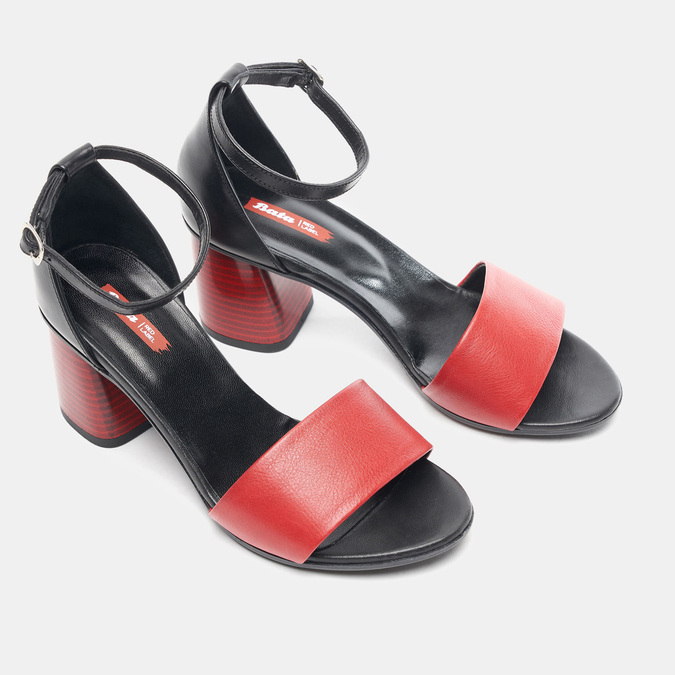 Sandales à talon bata-rl, Rouge, 764-5972 - 26