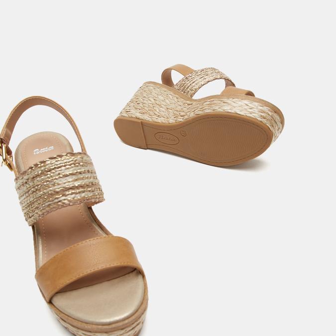 Sandales compensées bata, Beige, 769-8968 - 16