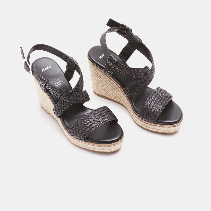 Sandales compensées bata, Noir, 761-6961 - 26