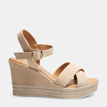 Sandales compensées bata, Beige, 763-8963 - 13