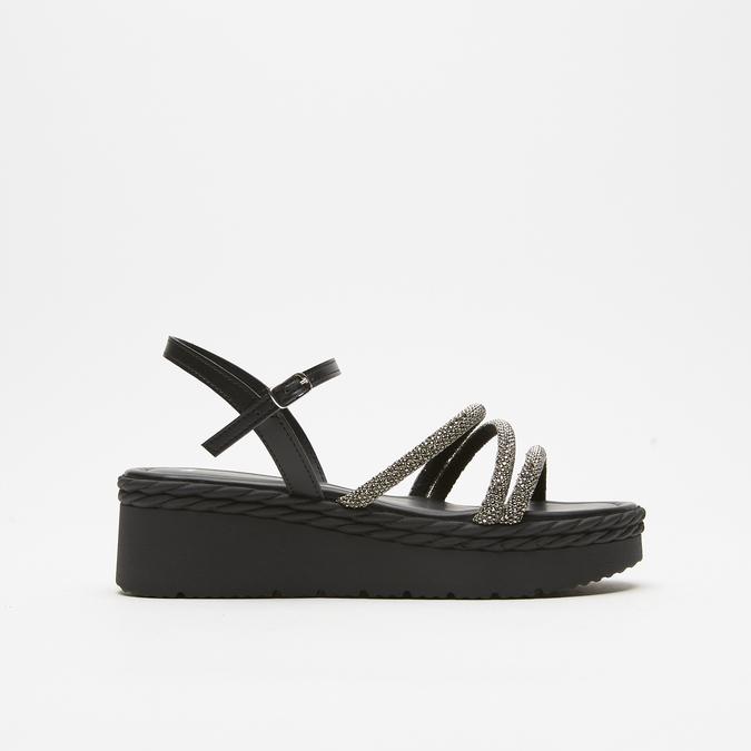 Sandales à plateforme bata, Noir, 761-6240 - 13