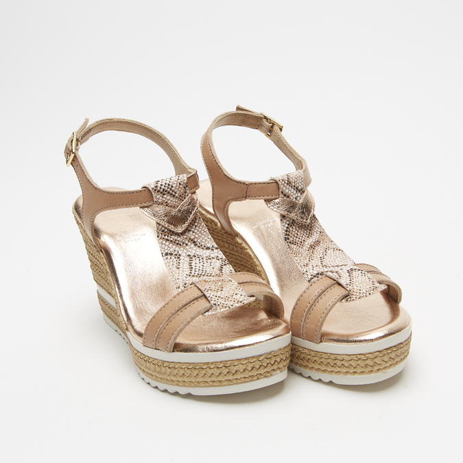 Sandales à plateforme bata, Or, 764-5153 - 16