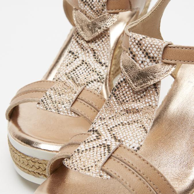 Sandales à plateforme bata, Or, 764-5153 - 26