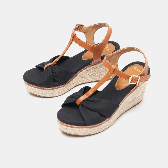 Sandales compensées bata, Noir, 769-6913 - 26