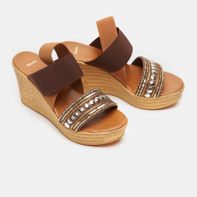 Sandales compensées bata, Brun, 769-3925 - 26
