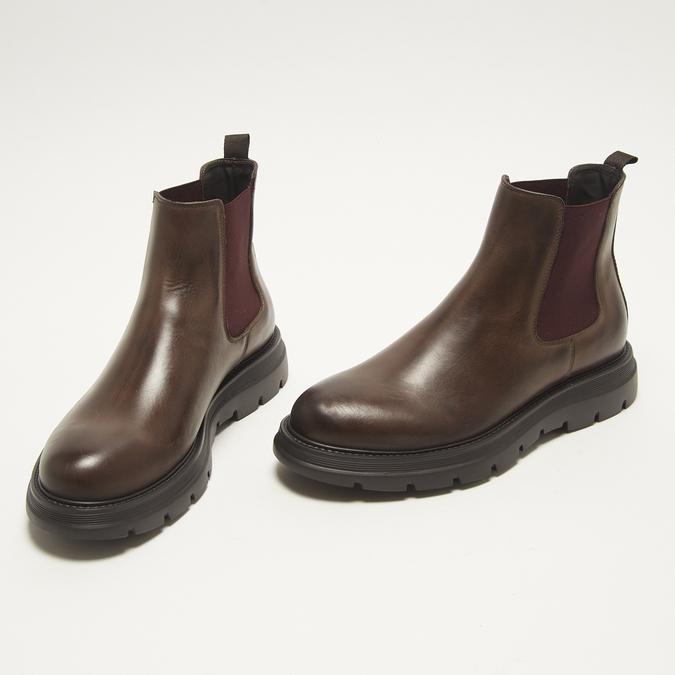 bottines en cuir à semelle robuste bata, Brun, 894-4559 - 26