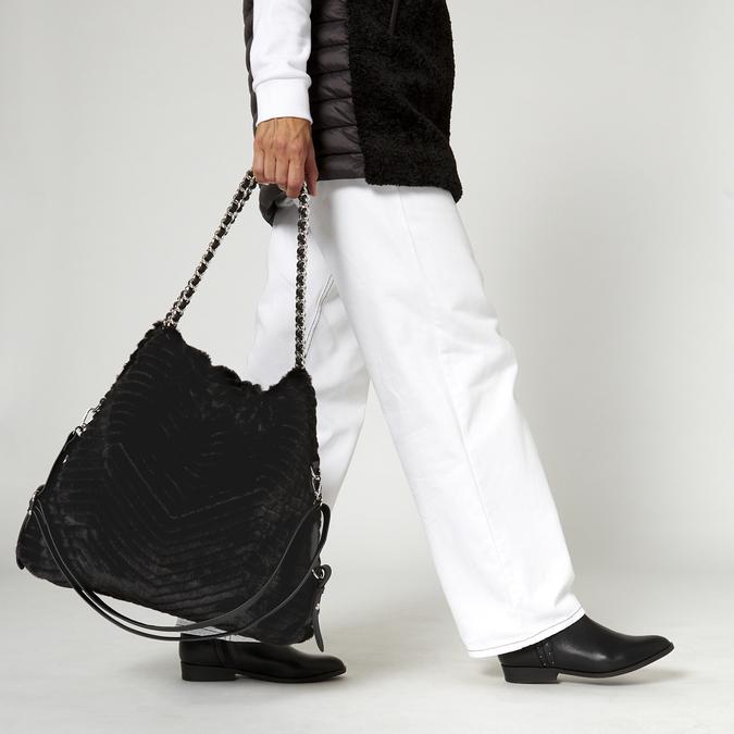 sac hobo à fourrure bata, Noir, 969-6197 - 19