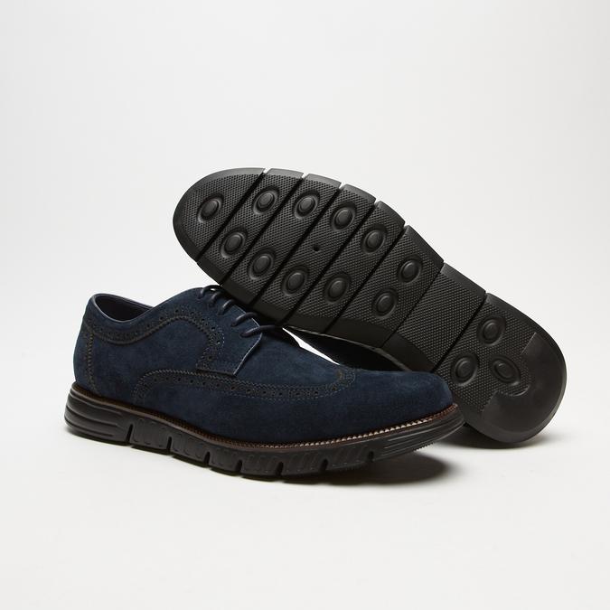 chaussures basses brogue en suède bata, Bleu, 823-9199 - 19