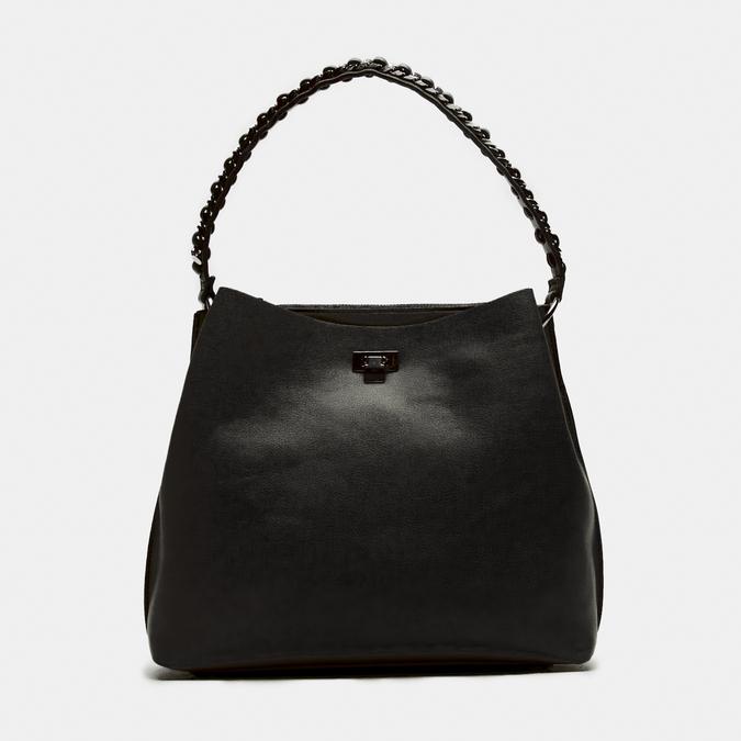 sac à main hobo pour femme à anse chaînette bata, Noir, 961-6203 - 13