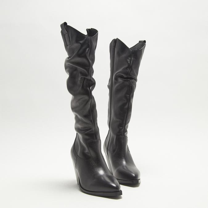 bottes de cow-boy en-dessous du genou à talons cubains bata, Noir, 794-6520 - 16