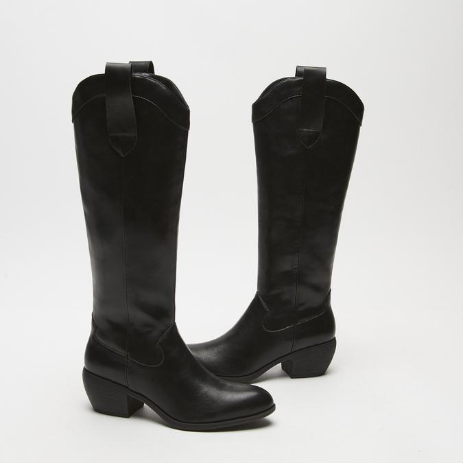 bottes de cow-boy en-dessous du genou à talons cubains bata, Noir, 791-6593 - 16
