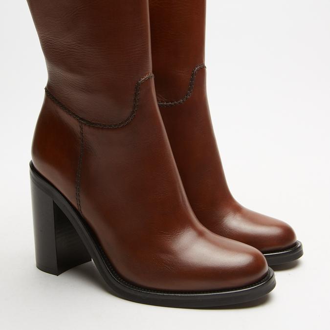 bottes en cuir en-dessous du genou à talons larges bata, Brun, 794-4464 - 15